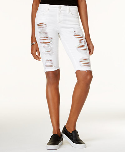 GUESS Solange Ripped Denim Bermuda Shorts - Shorts - Women - Macy's