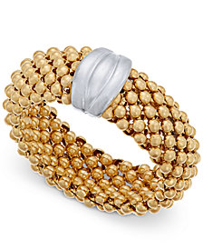 Two-Tone Mesh Ring in Sterling Silver & 14k Gold-Plated Sterling Silver