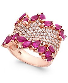 Rosa by EFFY Ruby (3-1/4 ct. t.w.) & Diamond (1-3/8 ct. t.w.) Ring in 14k Rose Gold