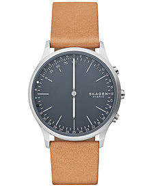 Skagen Men's Jorn Tan Leather Strap Hybrid Smart Watch 41mm