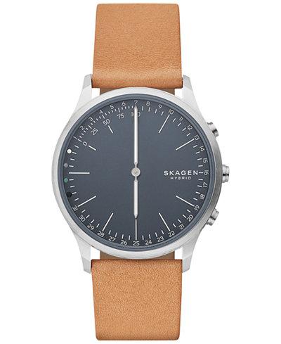 Skagen Men's Jorn Tan Leather Strap Hybrid Smart Watch 41mm