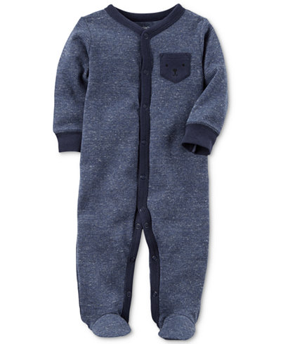Carter's Baby Boys Bear-Pocket Thermal Footed Coverall,