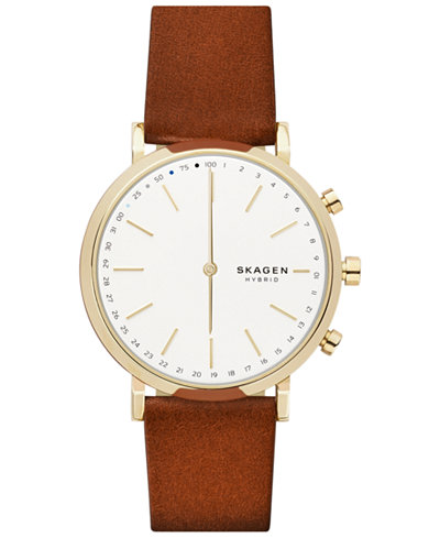 Skagen Women's Hald Brown Leather Strap Smart Watch 40mm
