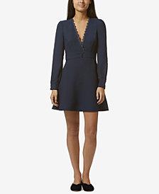 Avec Les Filles Lace-Trim V-Neck Mini Dress