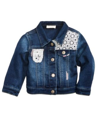 Image of First Impressions Crochet Denim Jacket, Baby Girls (0-24 months), Created for Macy's