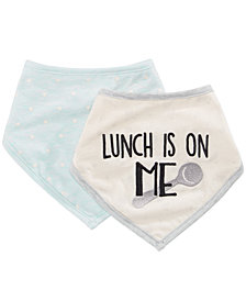 First Impressions 2-Pk. Lunch Is On Me Cotton Bandana Bibs, Baby Boys & Girls, Created for Macy's