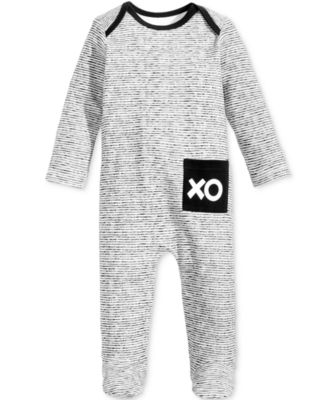 Baby Boys & Girls Striped XO Footed Cotton Coverall, Created for Macy's