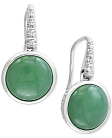 Verde by EFFY® Jade Drop Earrings in Sterling Silver