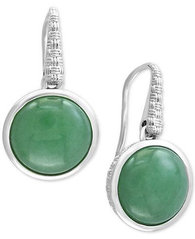 Verde by EFFY® Jade Drop Earrings in Sterling Silver