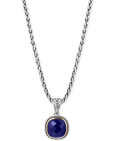 EFFY® Lapis Lazuli Pendant Necklace (5-1/5 ct. t.w.) in Sterling Silver & 18k Gold