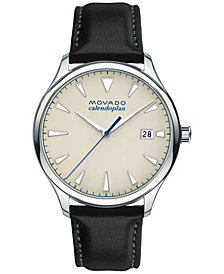 Movado Men's Swiss Heritage Series Calendoplan Black Leather Strap Watch 40mm