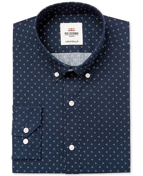 dc0ddcde636a ... Ben Sherman Men s Slim-Fit Blue   White Triple Dot Dress Shirt ...