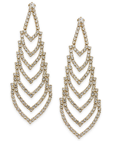Nina Gold-Tone Crystal Chandelier Earrings - Jewelry & Watches ...