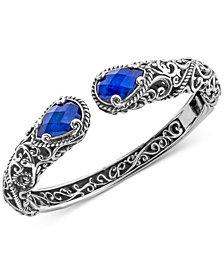 Lapis Lazuli Doublet Filigree Bangle Bracelet (12 ct. t.w.) in Sterling Silver
