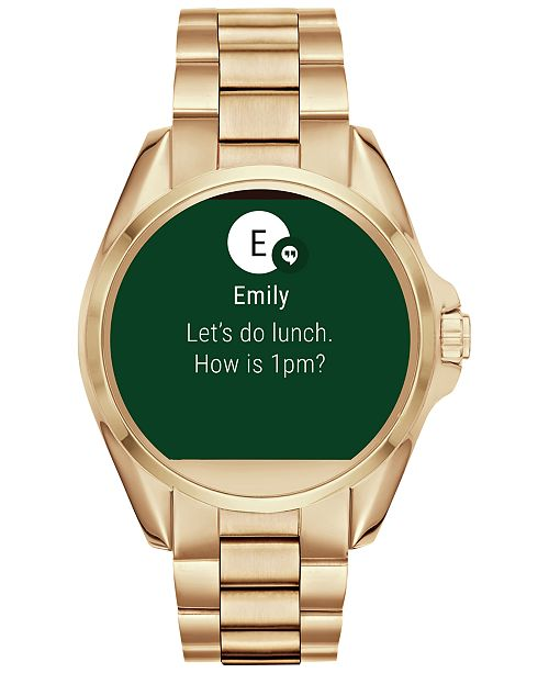 c84db86bac6 ... Michael Kors Access Unisex Digital Bradshaw Gold-Tone Stainless Steel  Bracelet Smartwatch 45mm MKT5001 ...