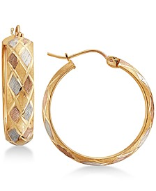 Tri-Color Argyle Patterned Hoop Earrings in 14k Gold