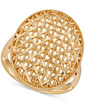 Oval Openwork Mesh Ring in 14k Gold