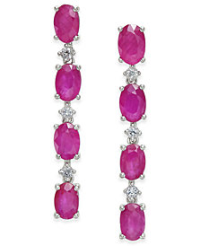 Certified Ruby (4-3/4 ct. t.w.) & White Sapphire (1/5 ct. t.w.) Drop Earrings in Sterling Silver, Created for Macy's