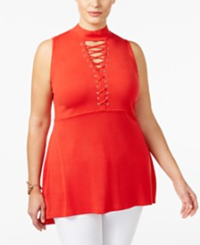 Belldini Plus Size Lace-Up Mock-Neck Tunic