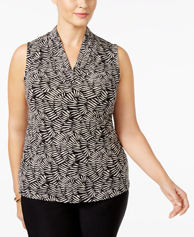 a966ed10f14cb Anne Klein Plus Size Printed Pleated Top - Plus Size Sale ...