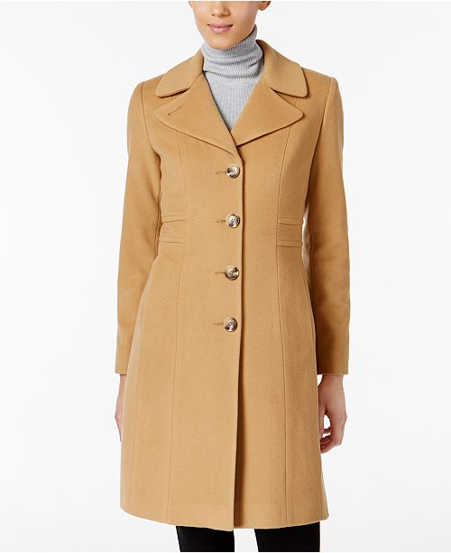 Anne Klein Wool-Cashmere Blend Blend Walker Coat