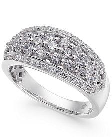 Diamond Cluster Ring (1 ct. t.w.) in 14k White Gold