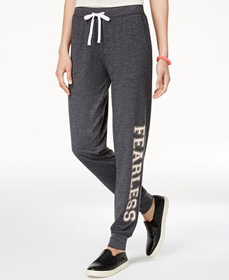 Love Tribe Juniors' Fearless Graphic Jogger Pants with Bracelet