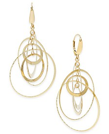 Italian Gold Multi-Circle Orbital Drop Earrings in 14k Gold