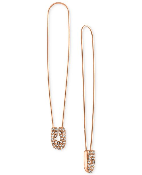 RACHEL Rachel Roy Rose Gold-Tone Pavé Safety Pin Linear Drop Earrings