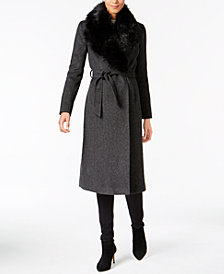 Cole Haan Signature Faux-Fur-Collar Walker Coat