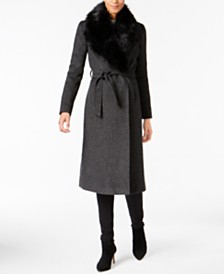 Cole Haan Faux-Fur-Collar Walker Coat