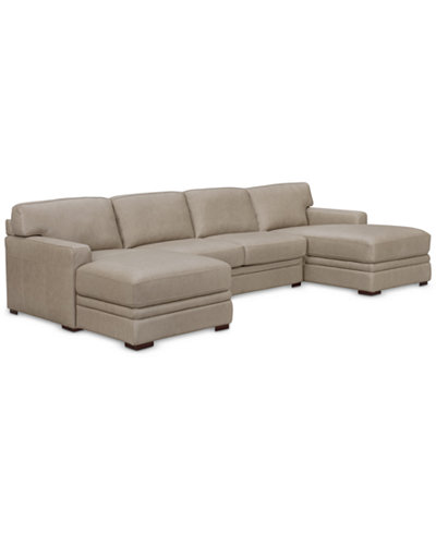 Avenell 3-Pc. Leather Sectional with Double Chaise, Created for Macy's