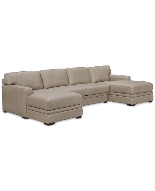 Furniture Avenell 3-Pc. Leather Sectional with Double Chaise, Created for Macy's