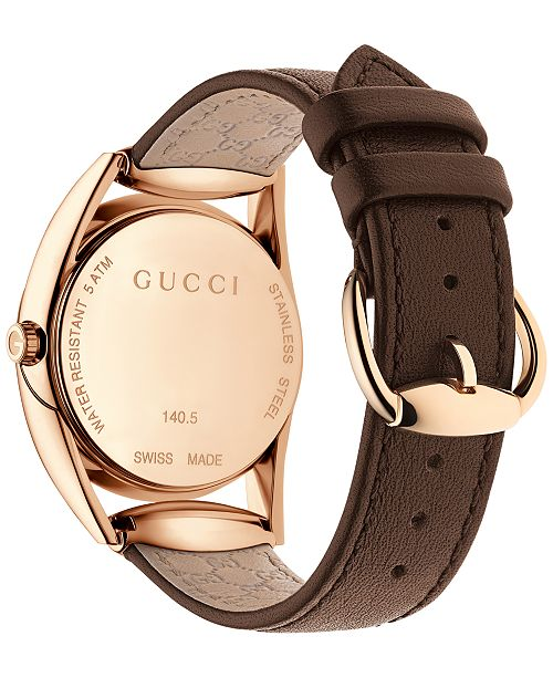 c6be4162ad7 ... Gucci Women s Swiss Horsebit Brown Leather Strap Watch 30mm YA140507 ...