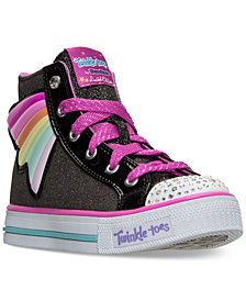 Skechers Little Girls' Twinkle Toes: Shuffles - Wander Wings High Top Light-Up Casual Sneakers from Finish Line
