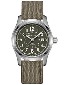 Men's Swiss Automatic Khaki Field Green Canvas Strap Watch 42mm