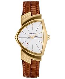 Hamilton Women's Swiss Ventura Brown Leather Strap Watch 32x50mm