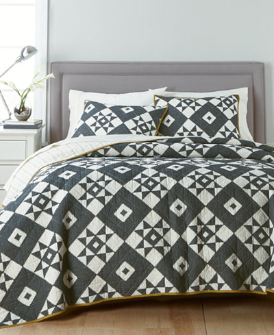 CLOSEOUT! Martha Stewart Collection 100% Cotton Blair Diamond Reversible Twin Quilt, Created for Macy's