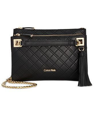 Calvin Klein Quilted Pebble Leather Triple Compartment Crossbody ... : calvin klein quilted handbag - Adamdwight.com