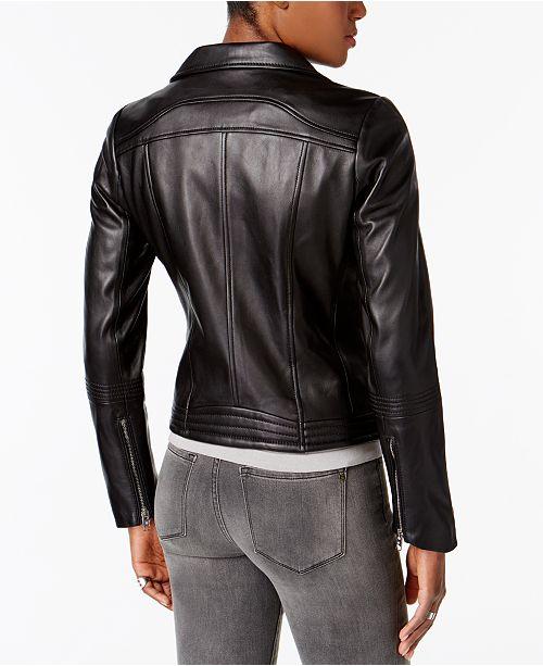 98fa215a2 Michael Kors Leather Moto Jacket   Reviews - Coats - Women - Macy s