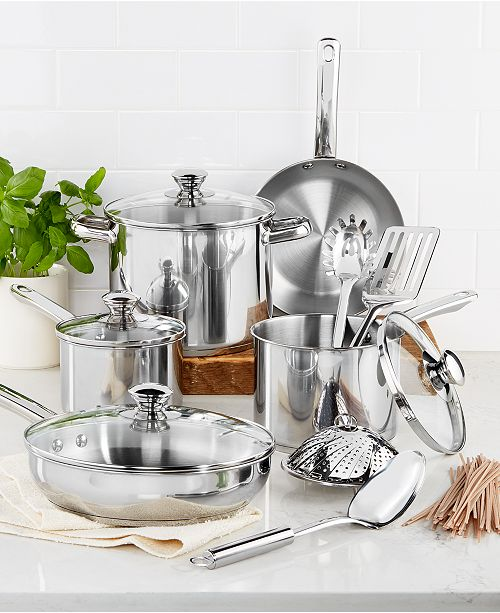 Tools of the Trade Stainless Steel 13-Pc. Cookware Set, Created for Macy's