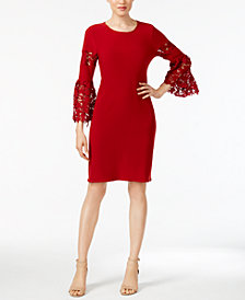 Alfani Petite Lace-Sleeve Dress, Created for Macy's