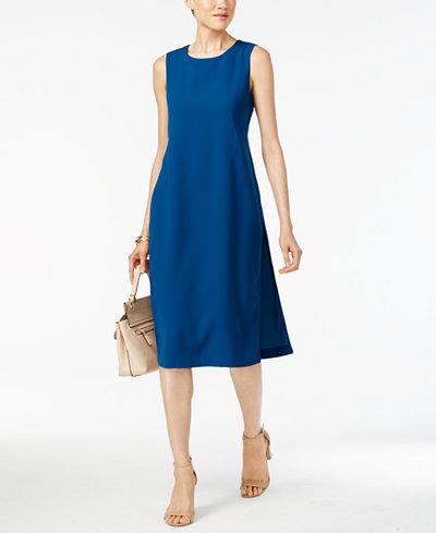 Alfani Petite Crepe-Overlay A-Line Dress, Created for Macy's