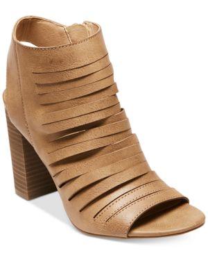Madden Girl Halo Peep-Toe Block-Heel Booties Women