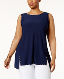 Belldini Plus Size Studded Split-Hem Top