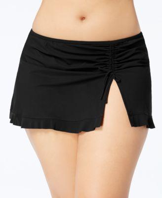Plus Size Tutti Frutti Slit Swim Skirt
