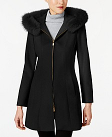 Fox-Fur-Trim Hooded Walker Coat