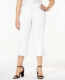JM Collection Petite Plus Size Tummy Control Pull-On Capri Pants, Created for Macy's