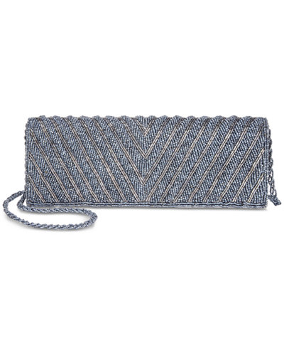 Adrianna Papell Noreen Chevron Beaded Small Flap Clutch
