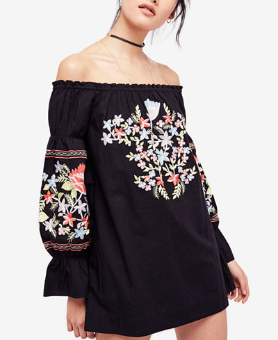 Free People Fleur De Jour Cotton Embroidered Off The